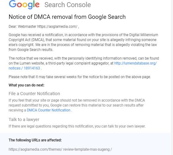 How do I write the correct DMCA response address? - Search