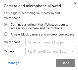 My cam doesn't work in Chatous, on my Mac, it works on other