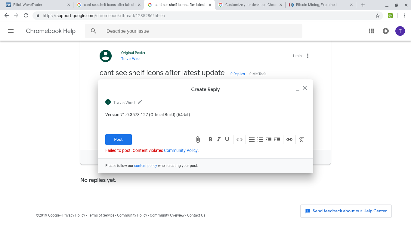 cant see shelf icons after latest update - Chromebook Help