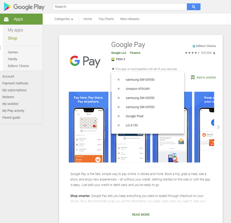 Google Pay app unable to install ''your device isn't