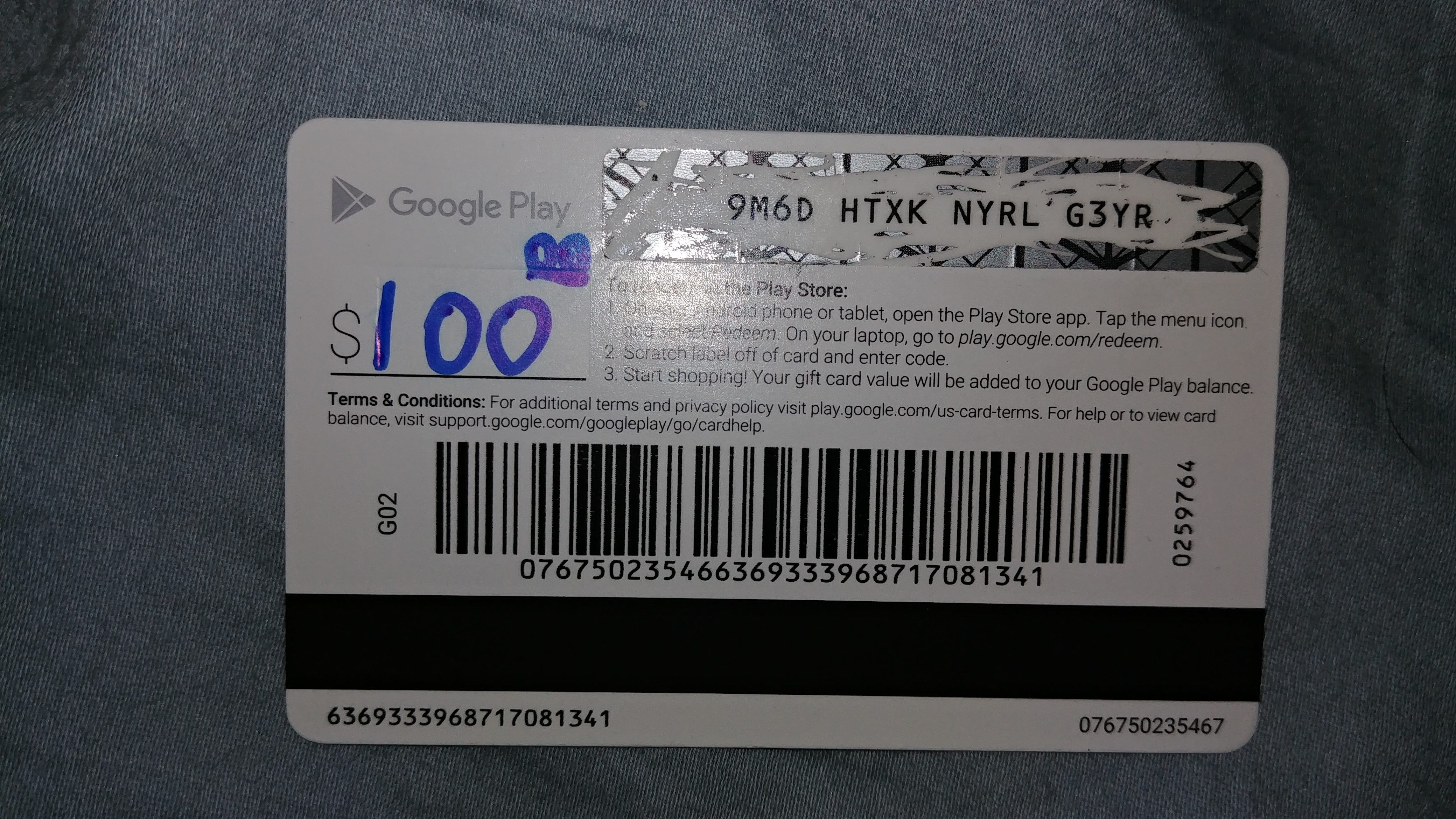 Playstore Card