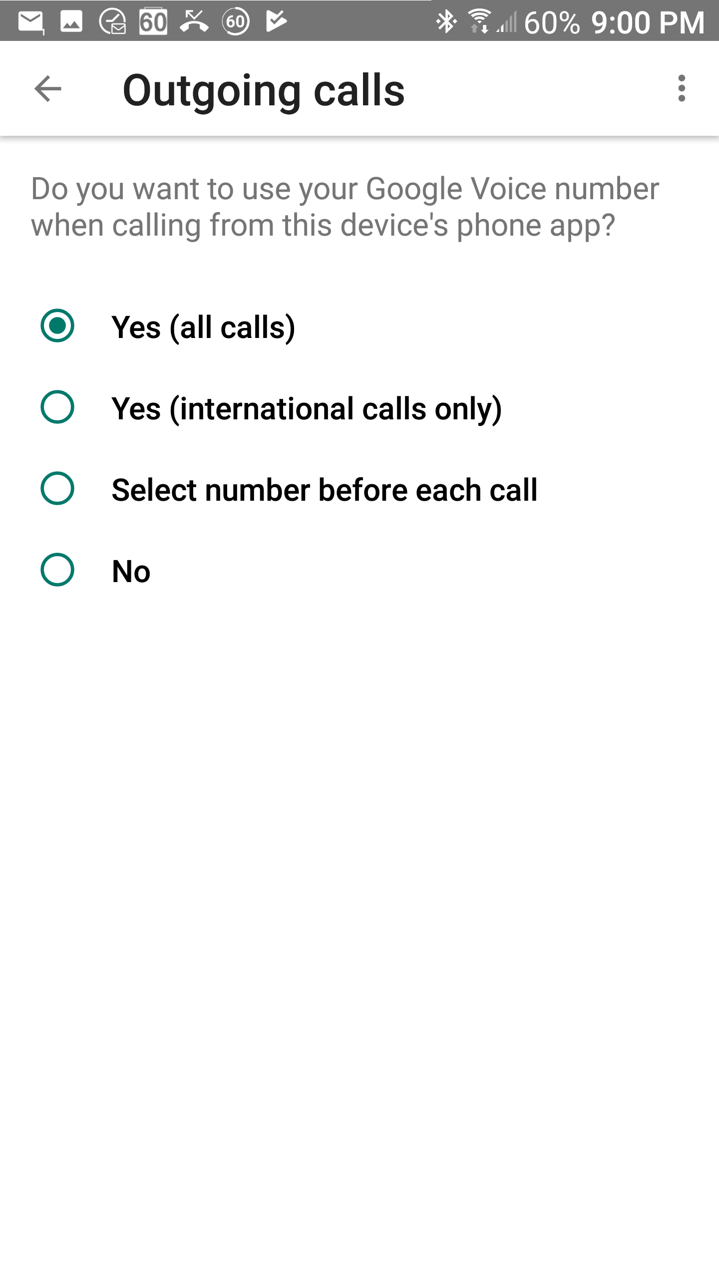 How do I select whether my Android phone uses Google Voice