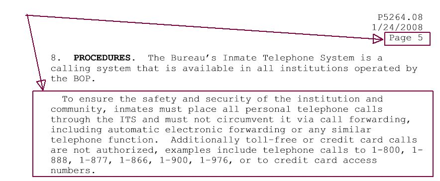 Why was incoming phone call from inmate unauthorized