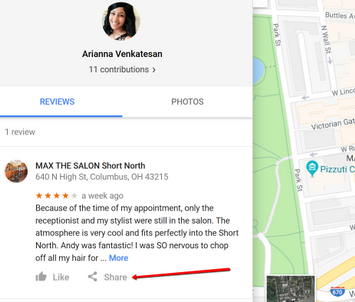 Can I share google reviews on business Facebook page