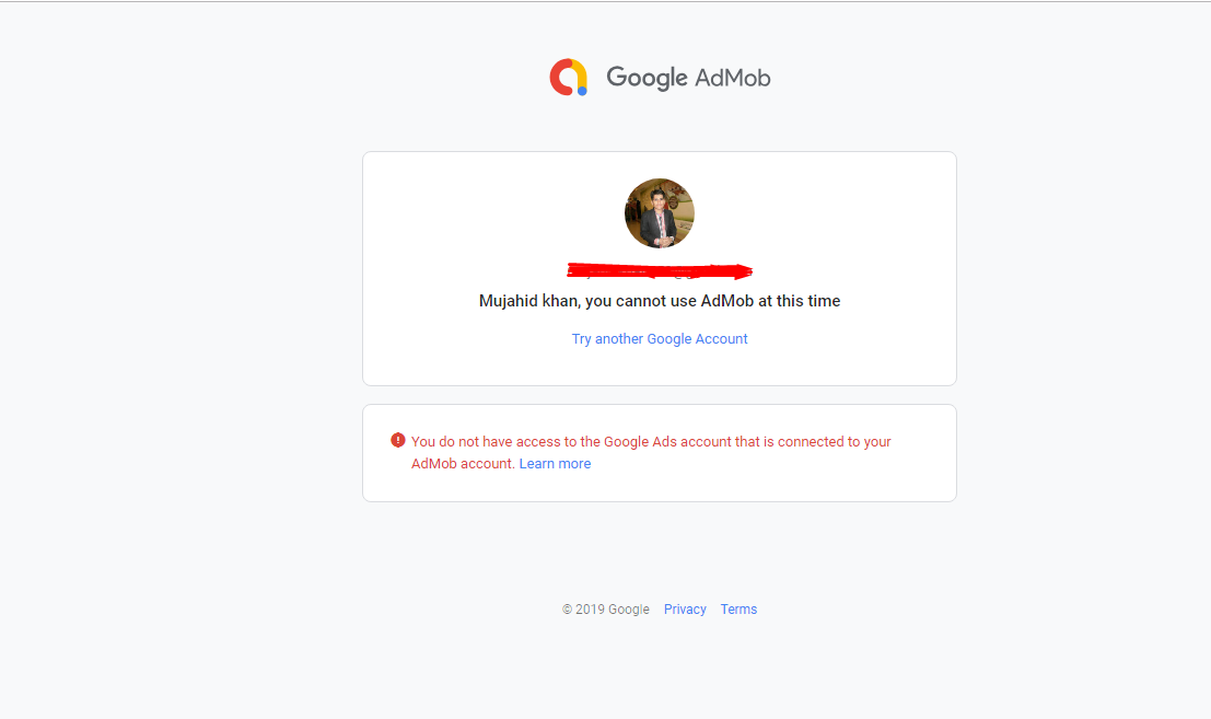 Problem with AdMob: You can't sign up for AdMob at this time