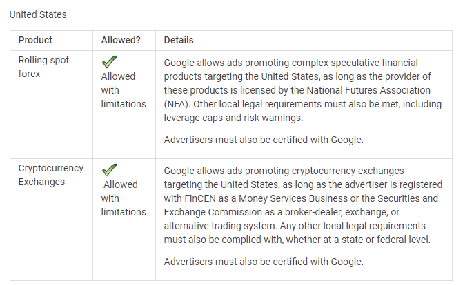 cryptocurrency exchange and google