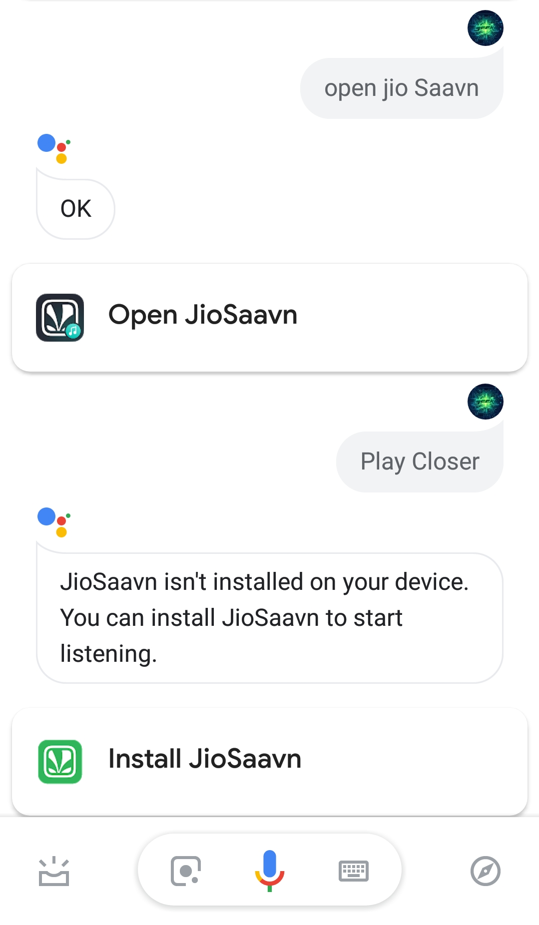 Trying to use JioSaavn Music Service for the Google