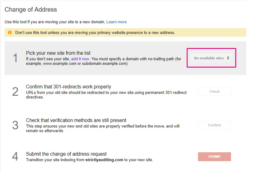 Search Console's Change of Address Isn't Working - Search Console Help