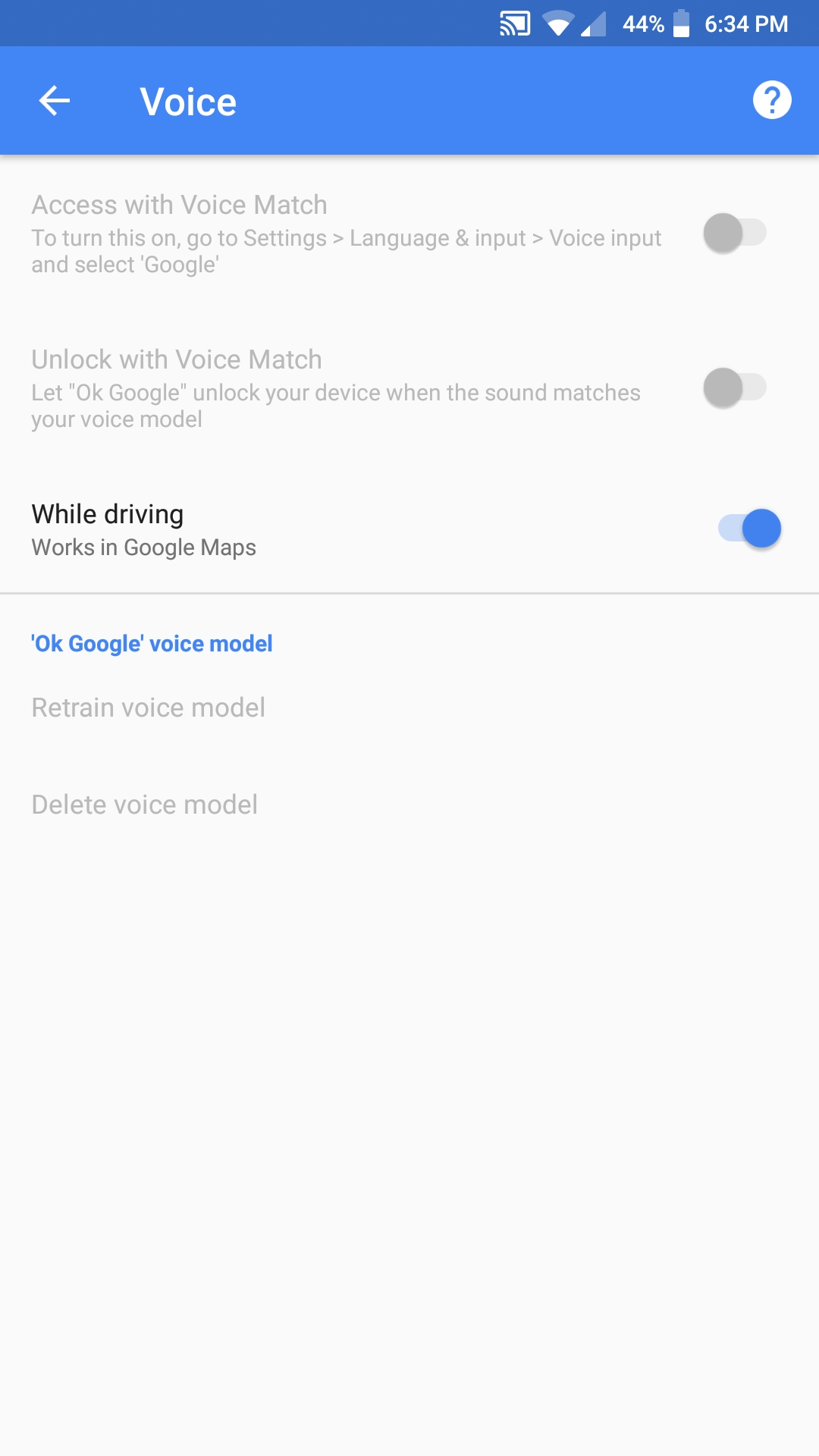 The access with voice match and unlock with voice match options are