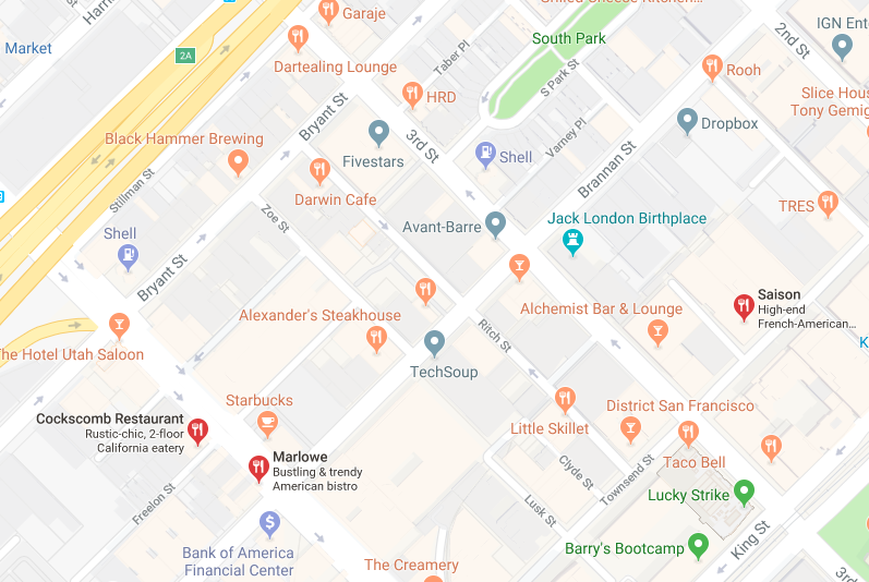 What is the difference btw restaurants marked by orange vs red