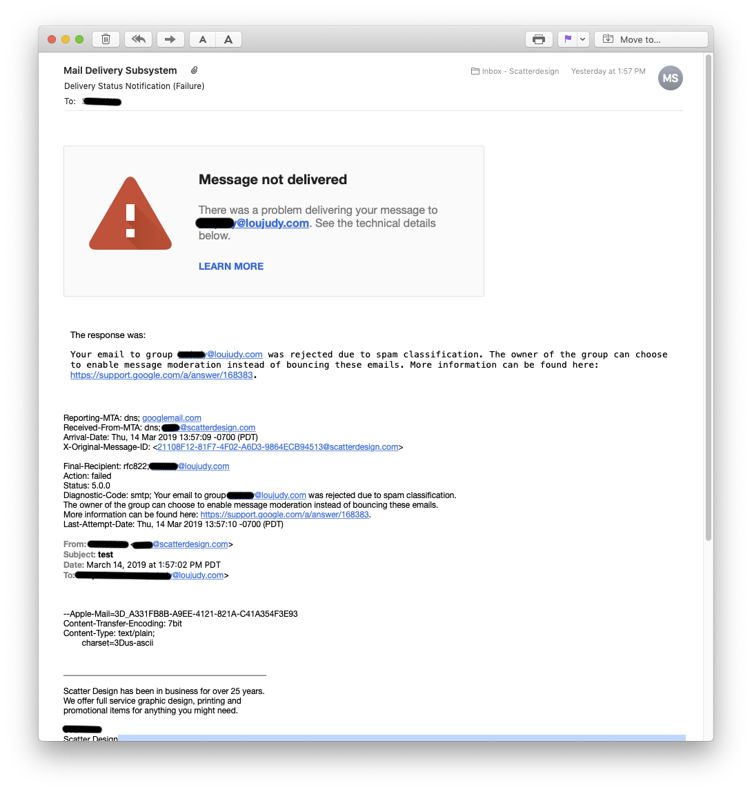 Legacy free edition of G Suite rejecting due to spam