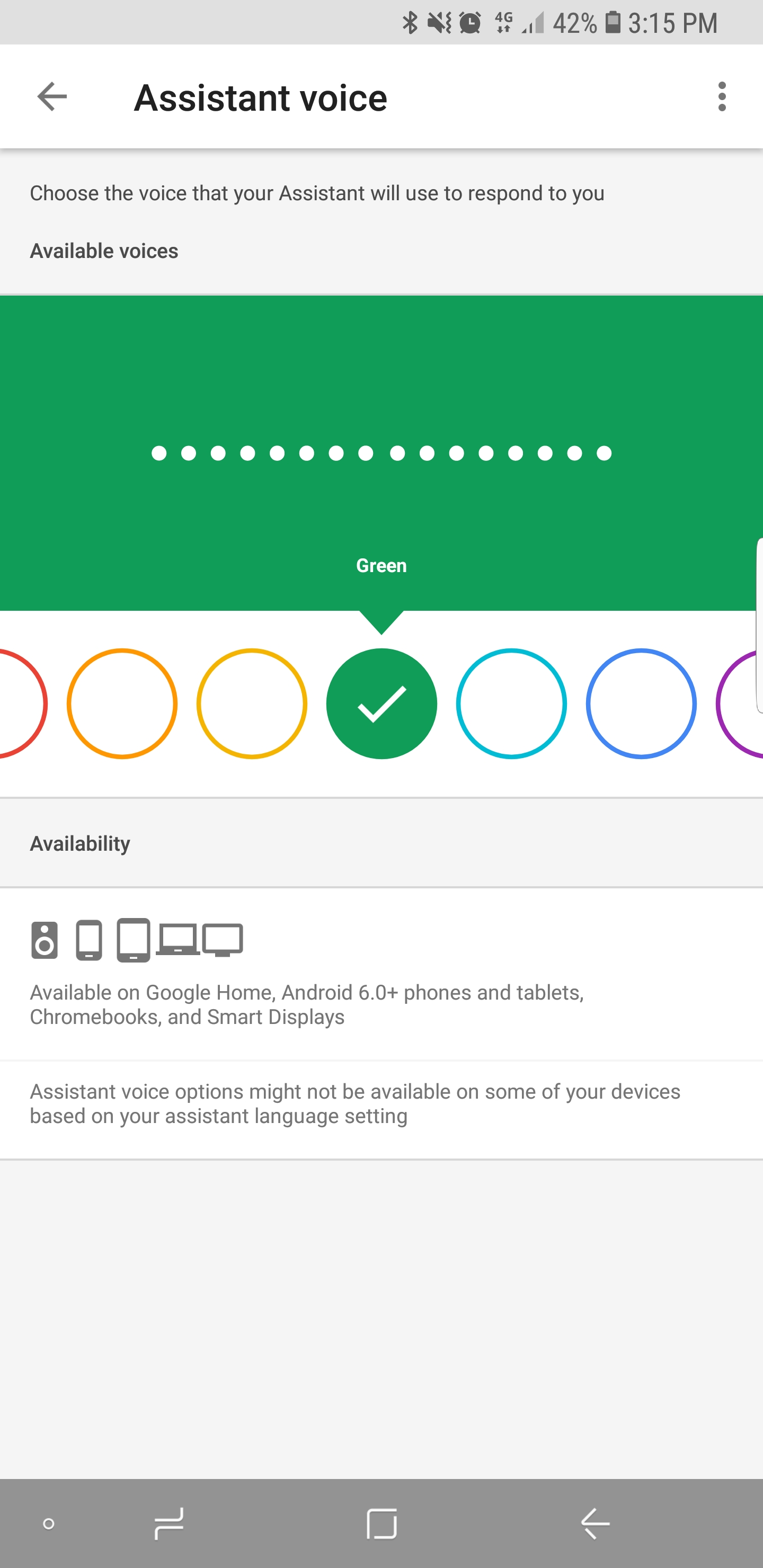Google assistant voice is not changing properly - Google