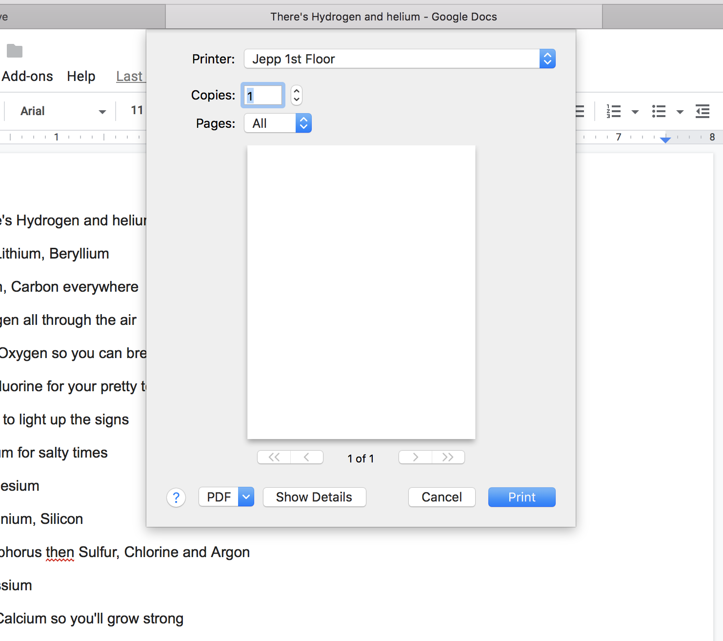 Print icon in Google Docs open a pop up to save the file