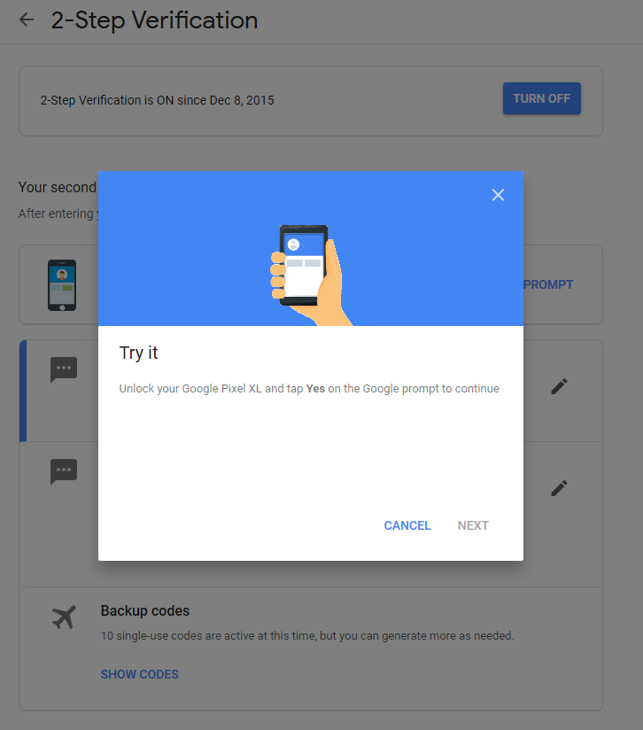 Two step verification prompt stopped working - Pixel Phone Help