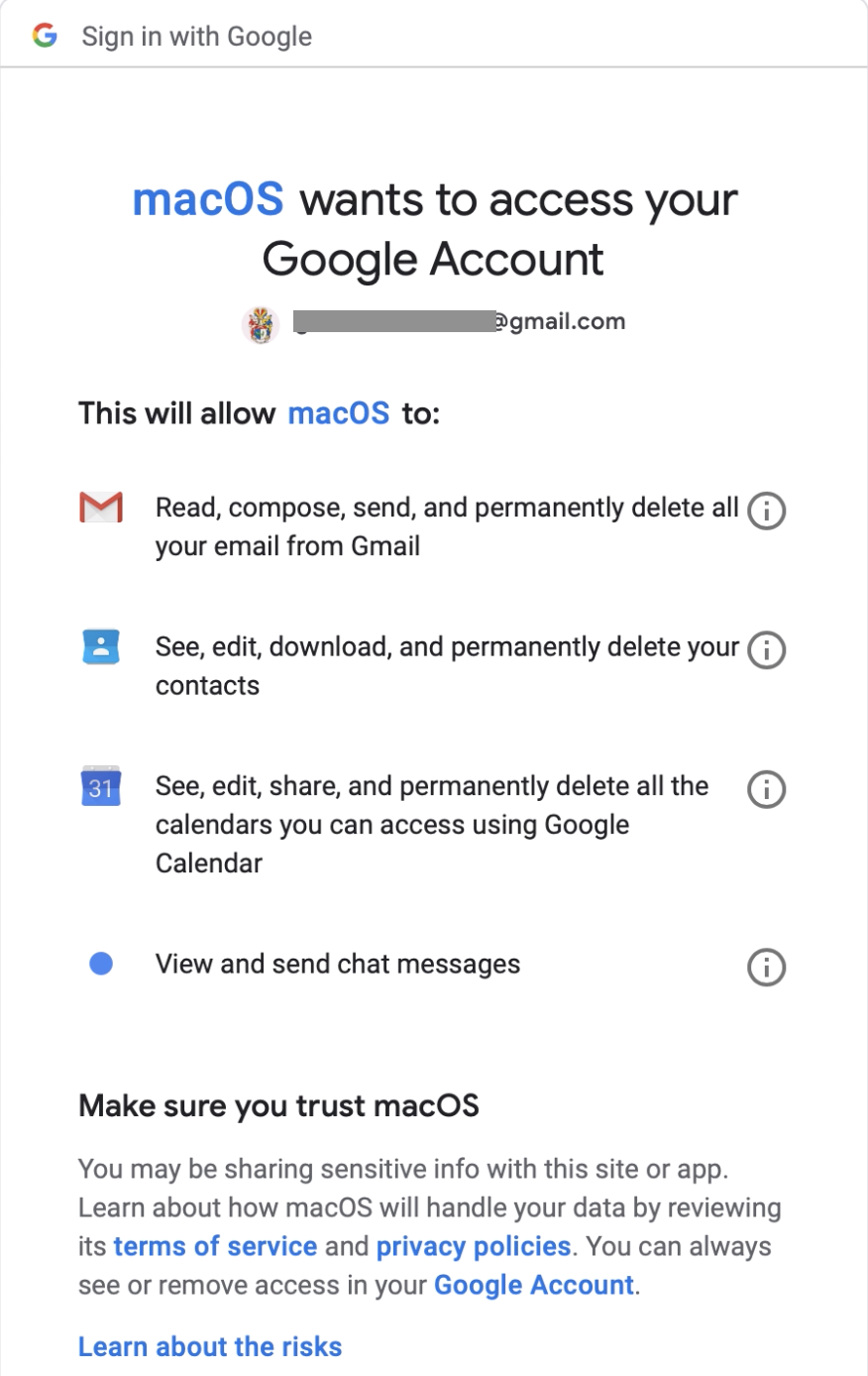 Mac0S suddenly wants to share Google account info  I don't