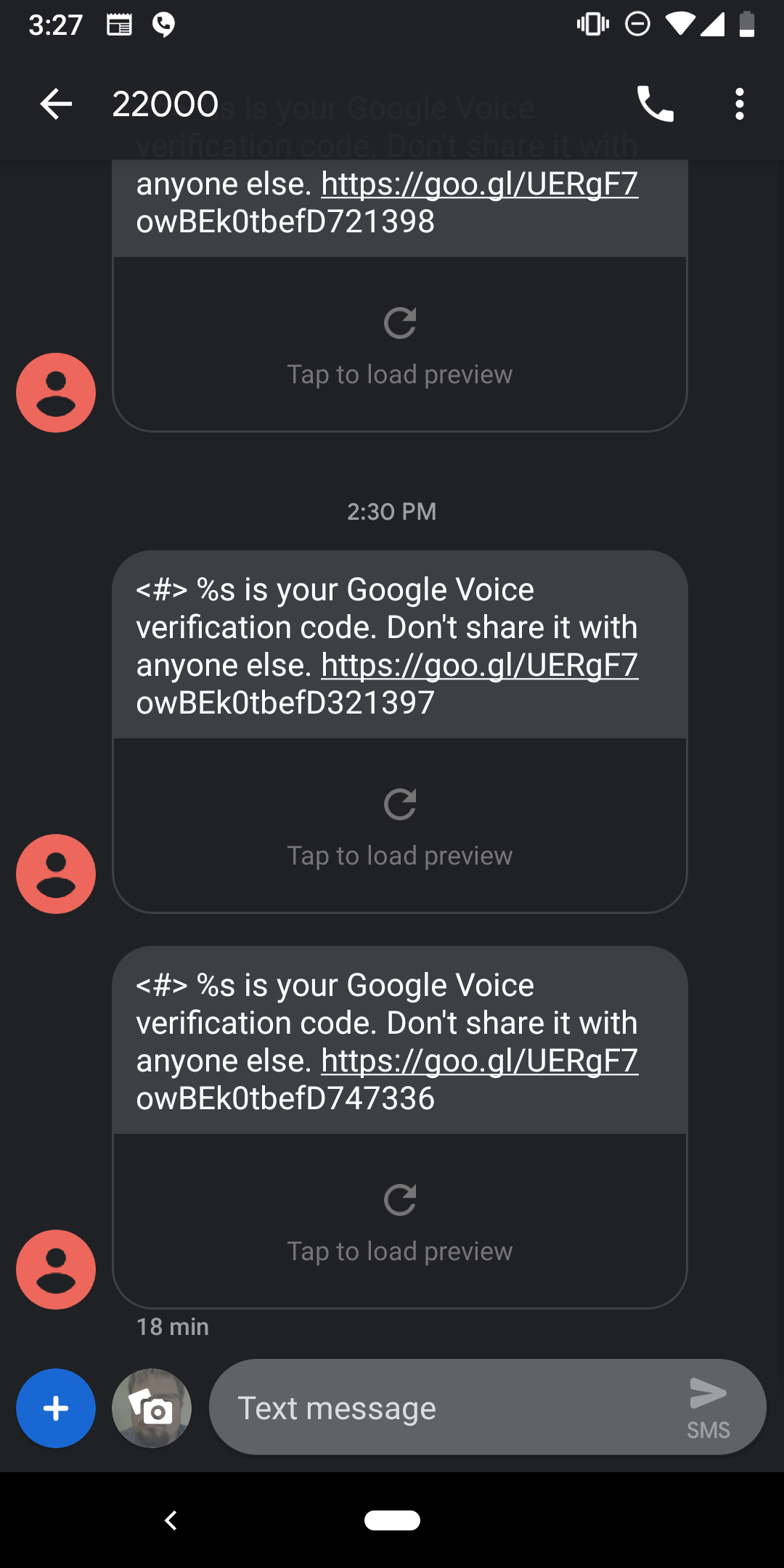 google voice verification code