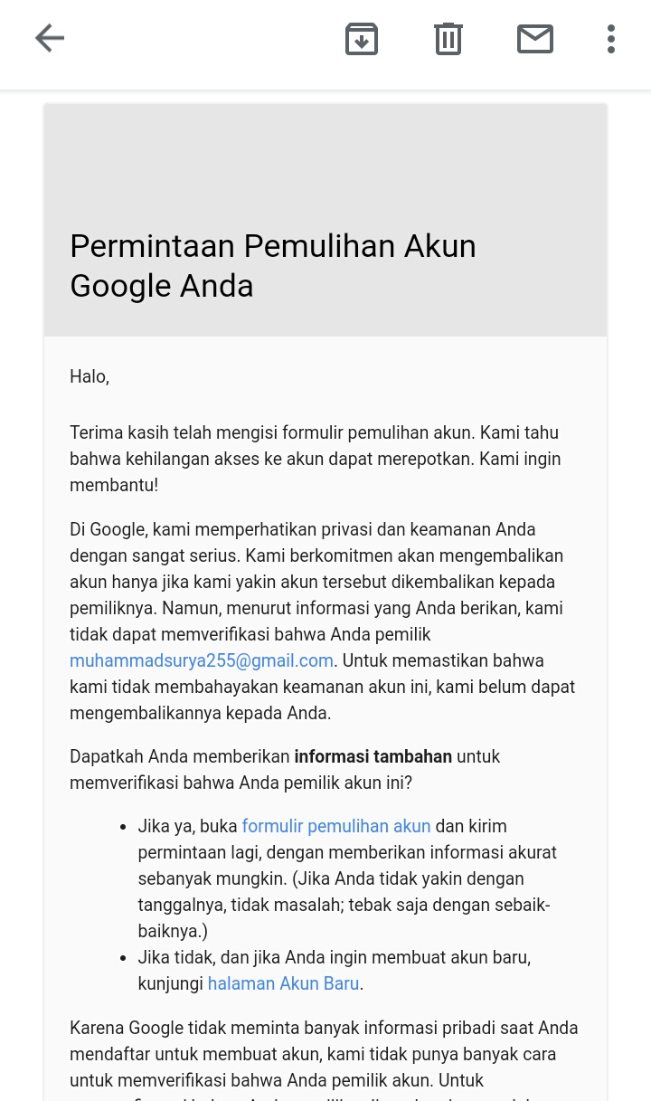 Akun Saya Di Nonaktifkan Dan Sudah Di Respond Oleh Pihak Google Namun Belum Juga Di Aktifkan Komunitas Akun Google