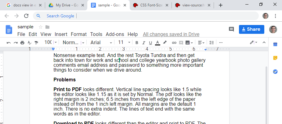 docs view in editor is different than print to pdf and