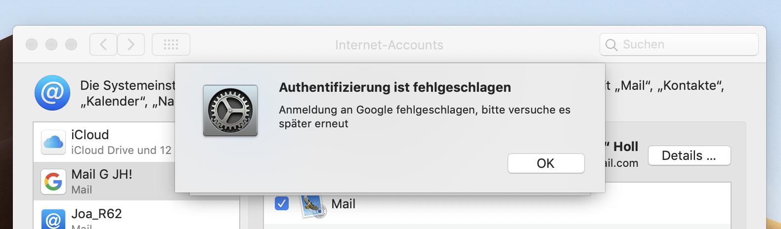 Google mail anmeldung fehlgeschlagen