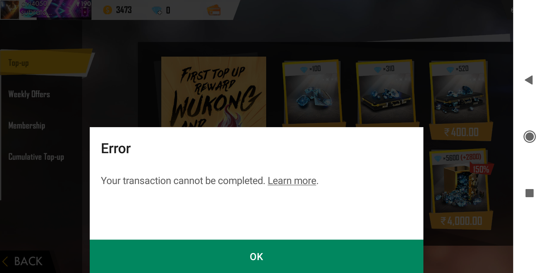 I can't make purchase in-game - Google Play Help