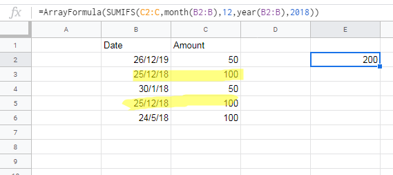 Sumif for date range - Docs Editors Help