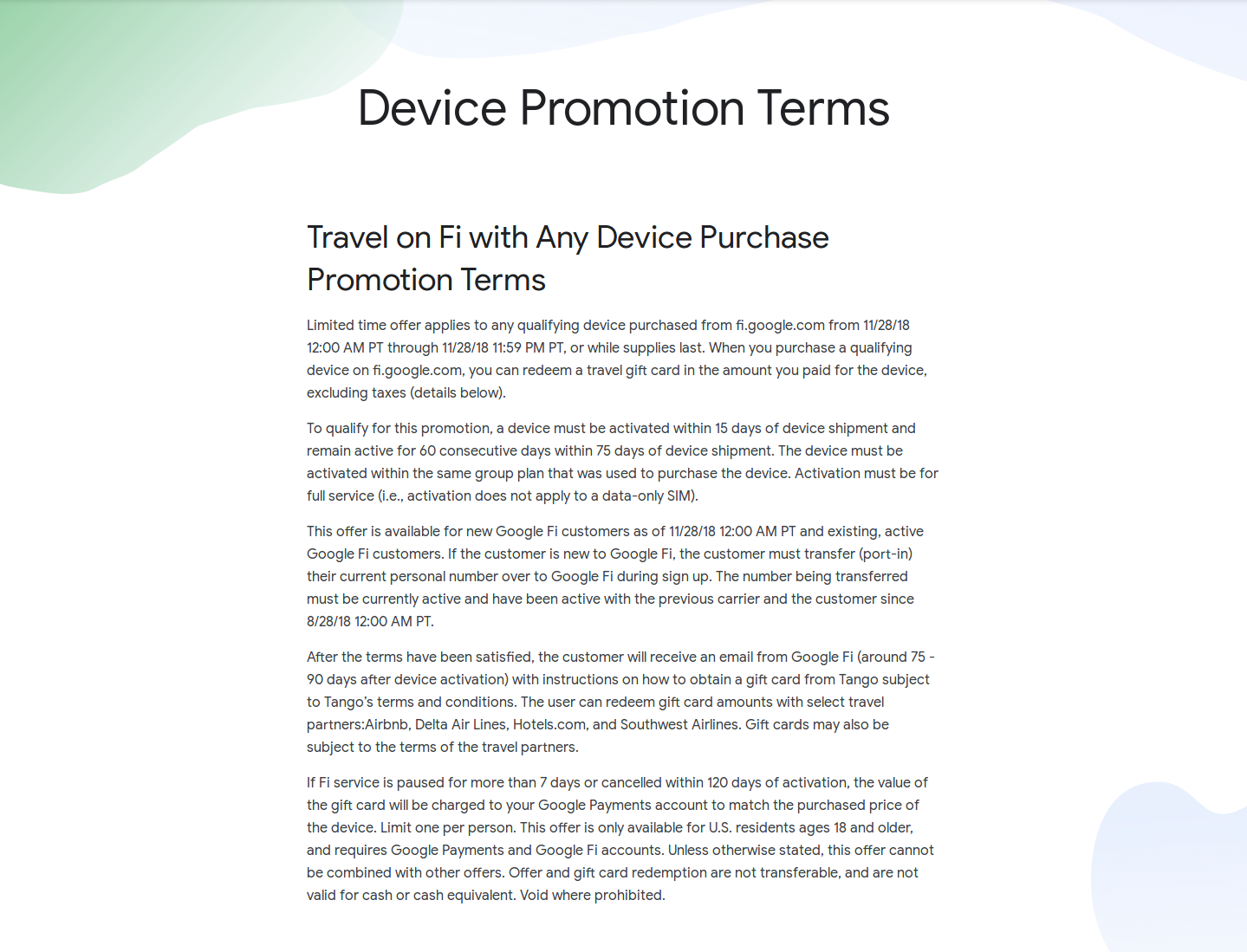 Full device promotion terms .