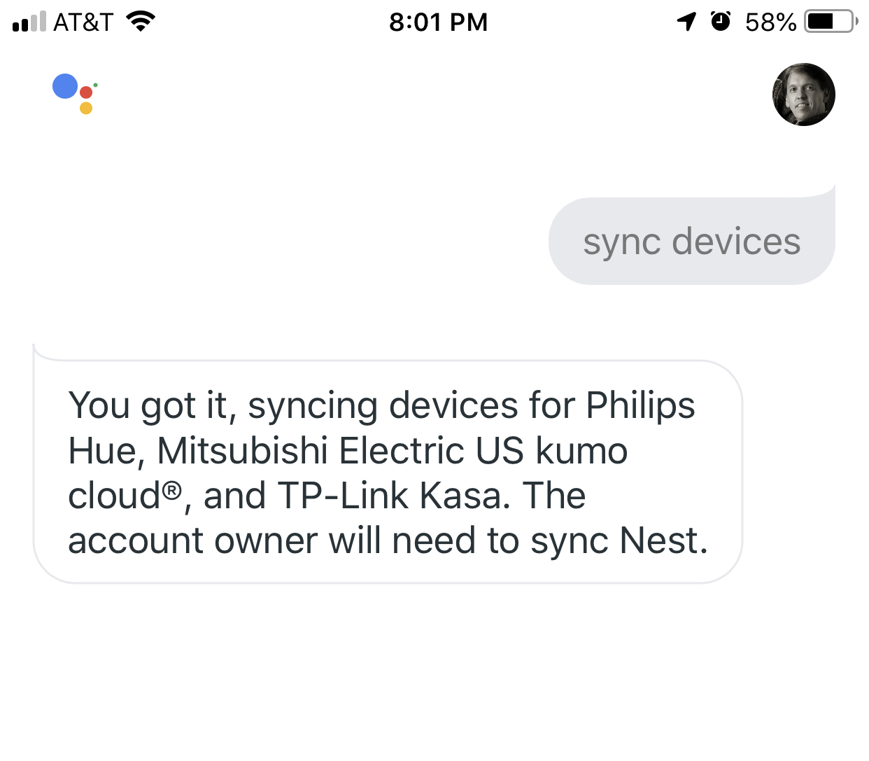 The account owner will need to sync message - Google Home Help