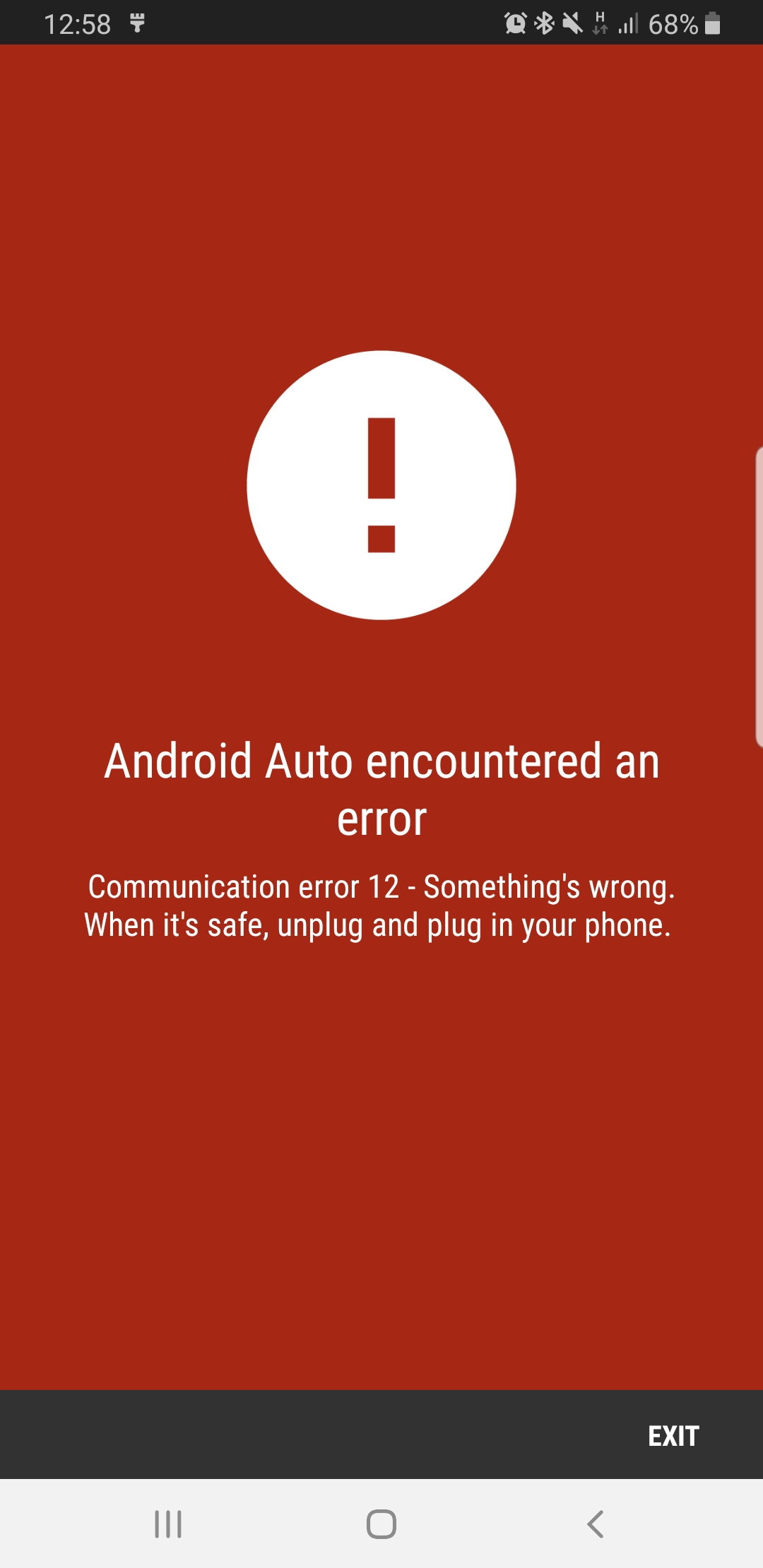 What's convection error 12 - Android Auto Help