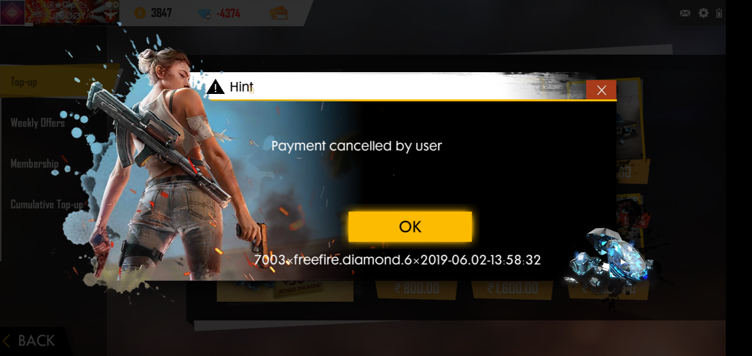 My top up Falied on garena free fire - Google Play Help