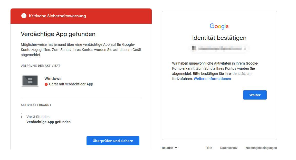 Nicht identität google bestätigen kann Google Konto