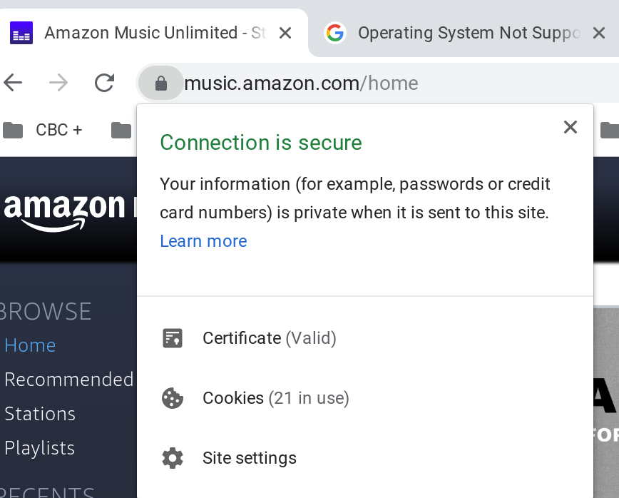Operating System Not Supported error message on Amazon Music