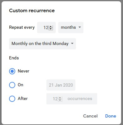 January 2020 Behavior Calendar How do I create a yearly recurring event on a specific day of the