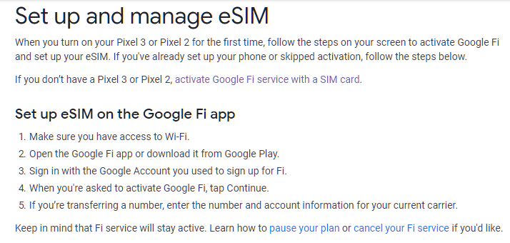 Pixel 3 unable to activate fi  Google Fi app wants me to