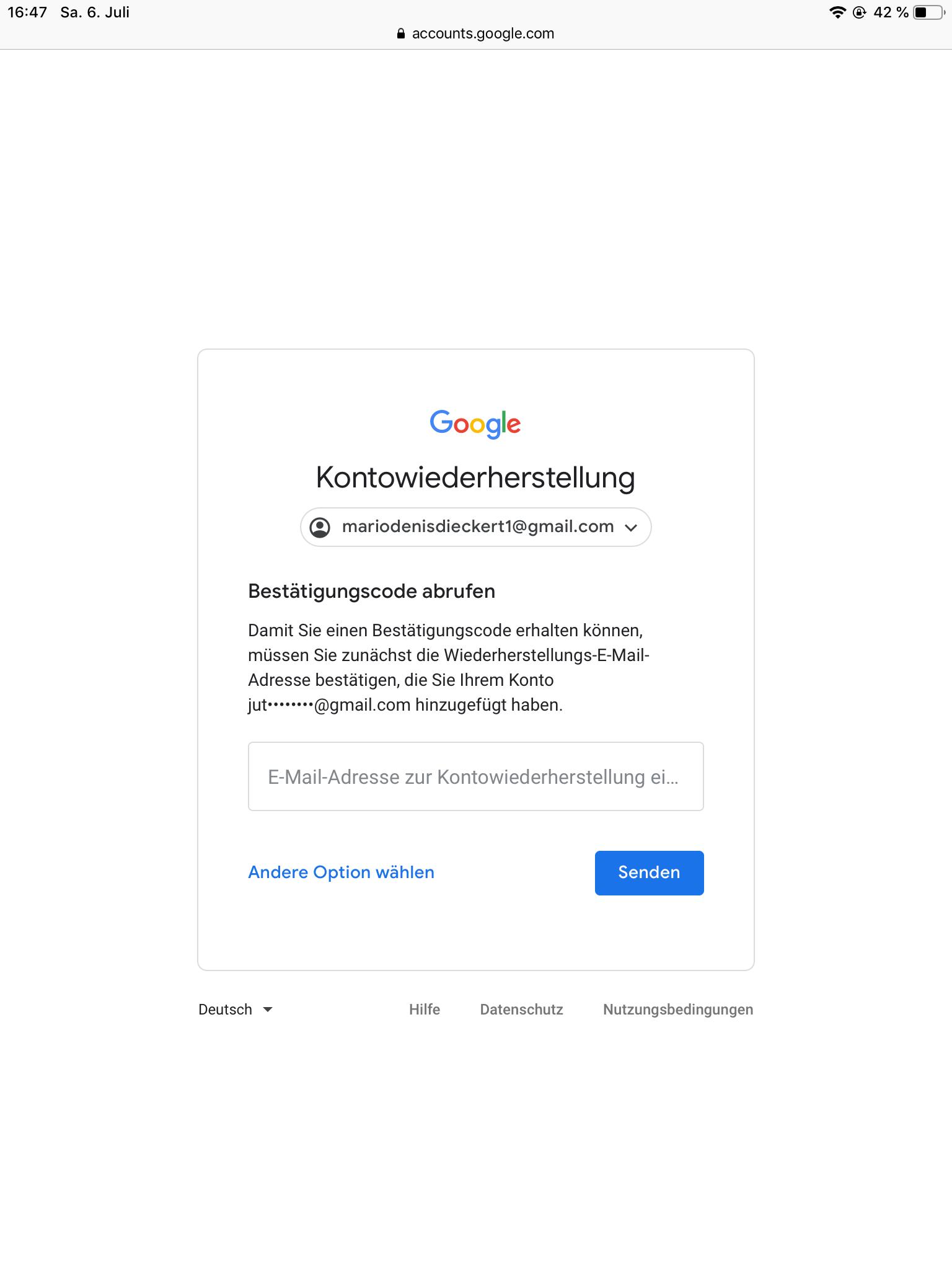 Gmail Passwort Vergessen Bestätigungscode