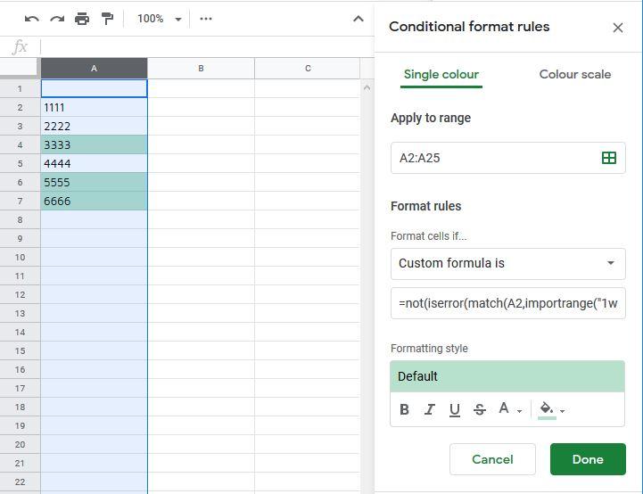 Conditional formatting across seperate workbooks - Docs Editors Help