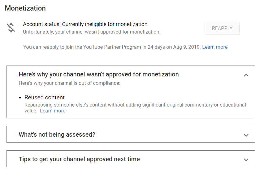 Account status: Currently ineligible for monetization