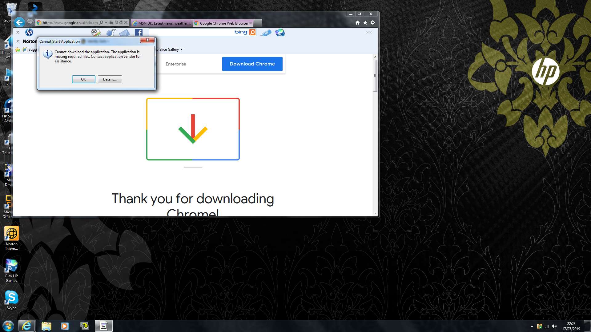 I cannot download Google Chrome to my HP Touchsmart 520 PC desktop