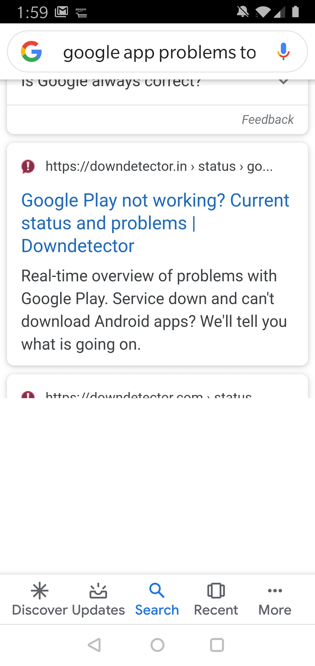 Google app search, results are partially displayed but on