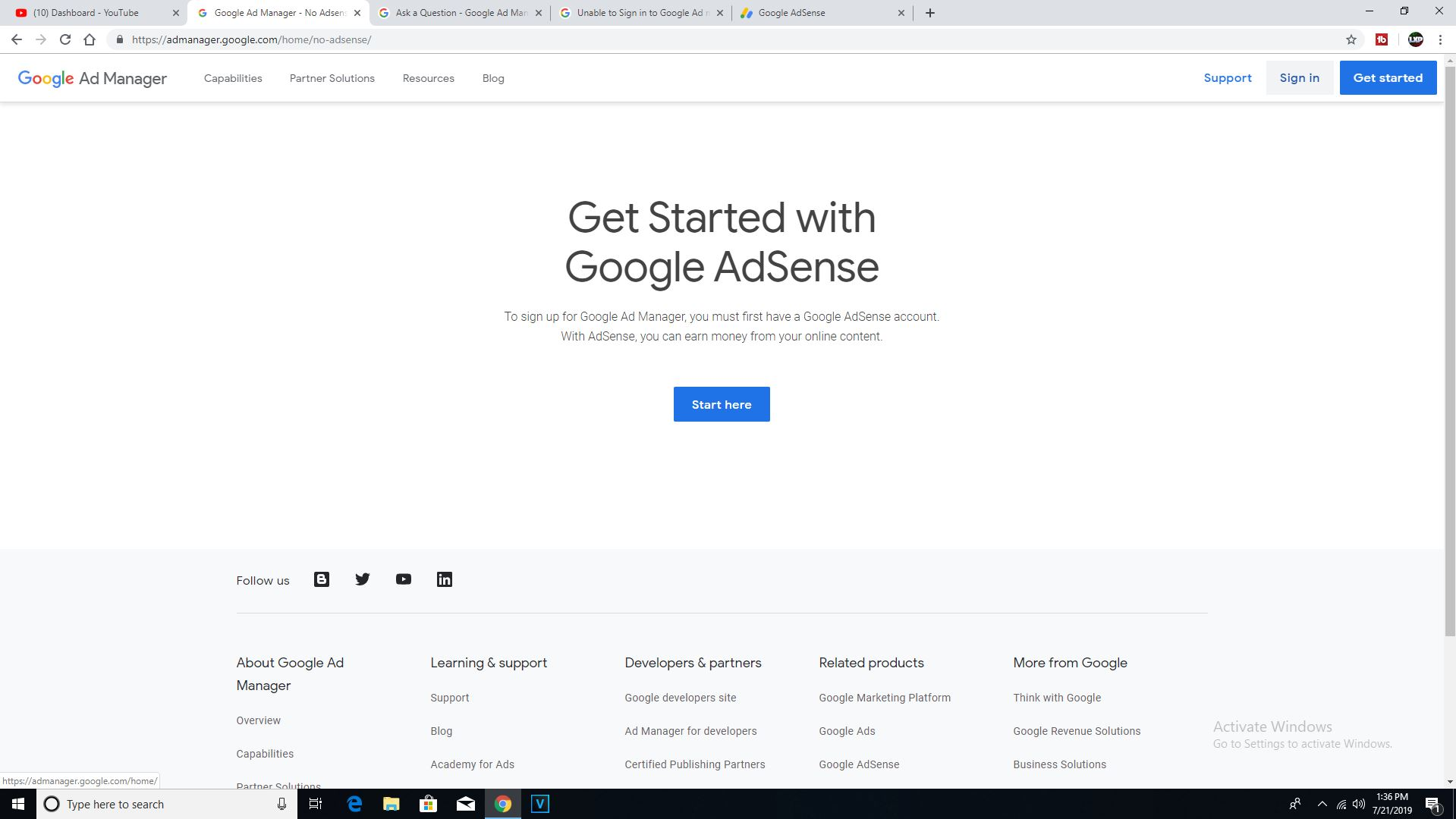 I'm having trouble getting started with google ad manger - Google Ad