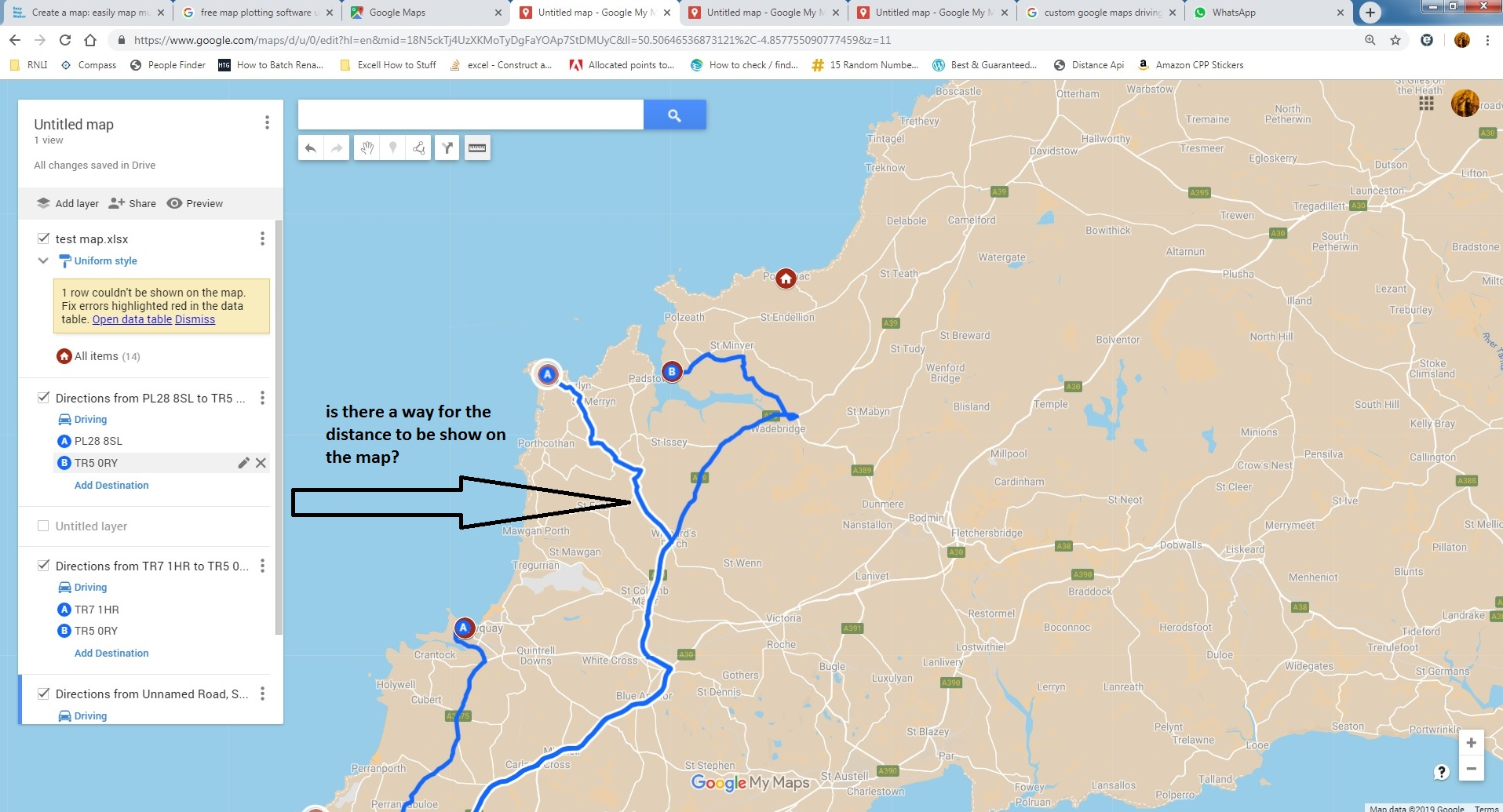 Show distance in custom Google Map - Google Maps Help