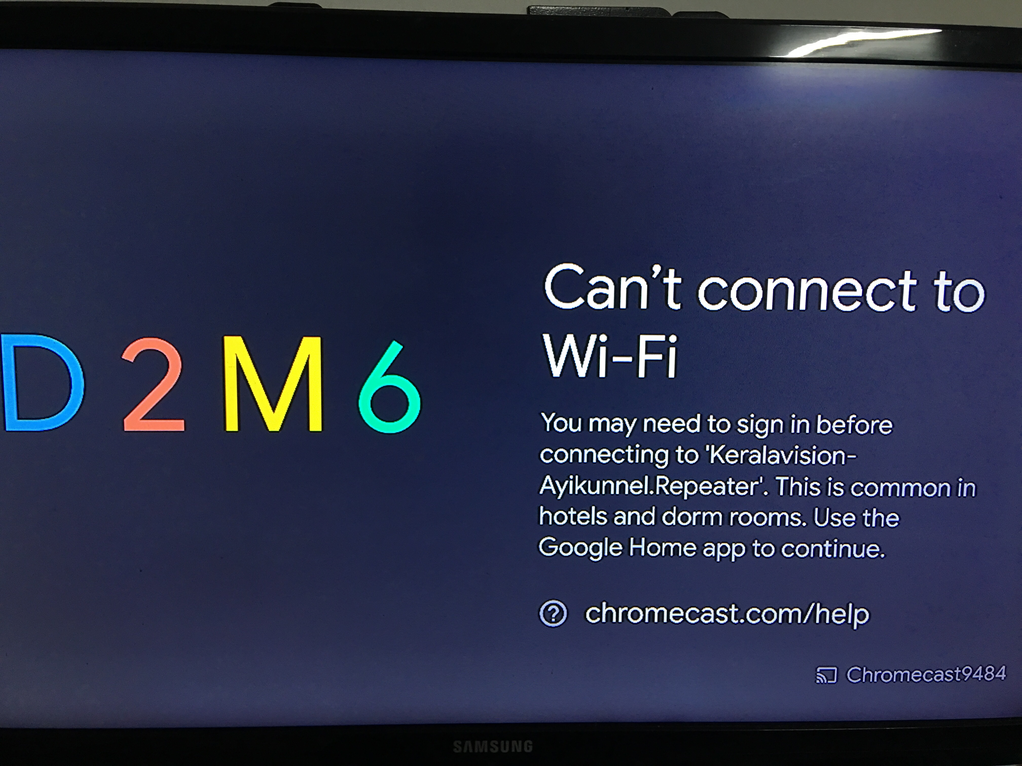 I Am Unable To Connect My Chromecast To My Home Wi Fi Network It Is Showing A Sign In Error Chromecast Community