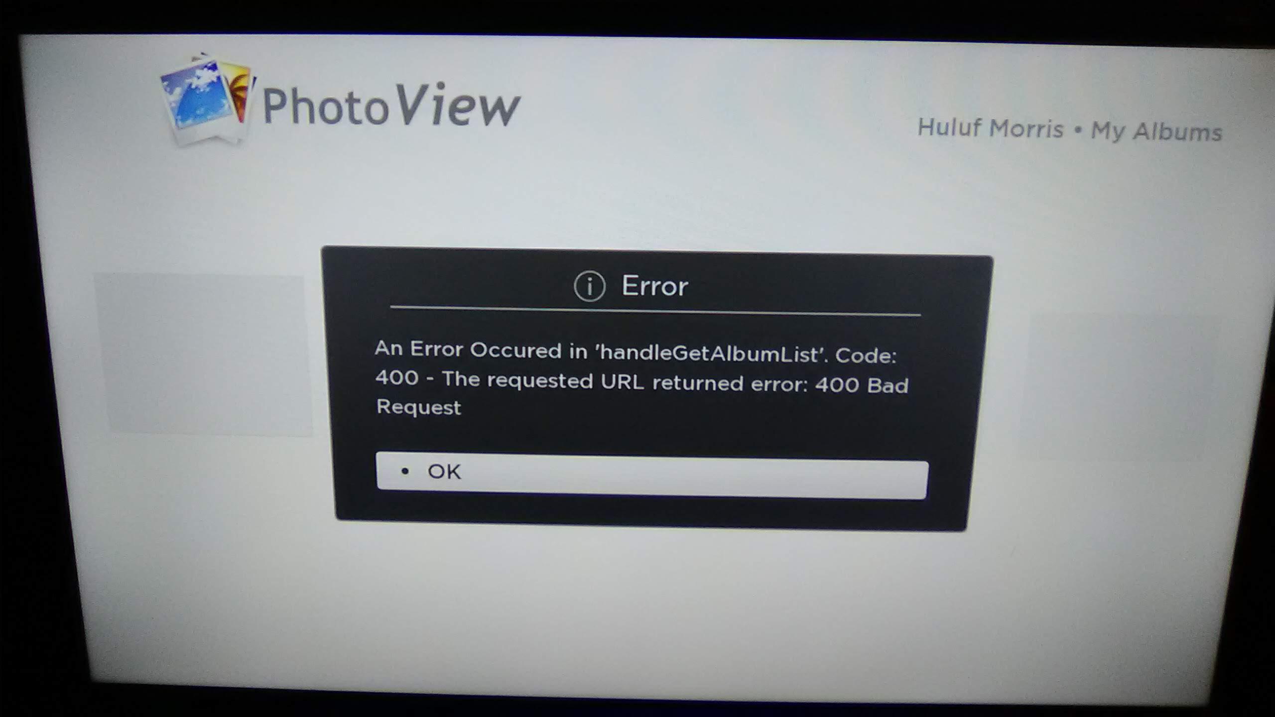 Roku TV Google View error messages handleGetAlbumList 400