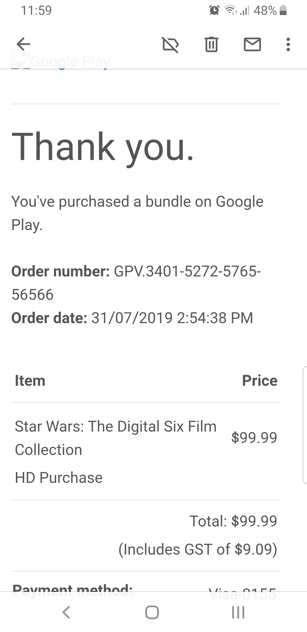 I Purchased The Star Wars 6 Movies For 99 And Now 1 Movie Had Disappeared From Google Movies Google Play Community
