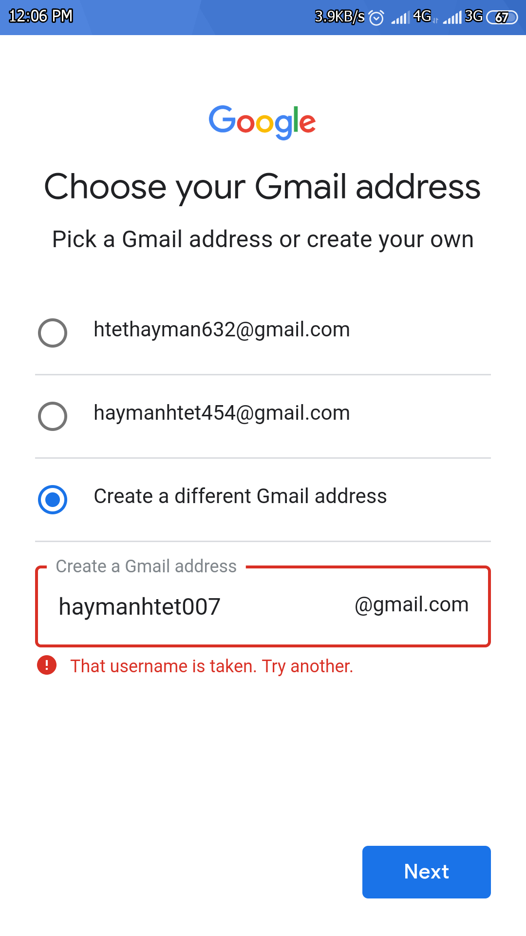 I have a gmail account ID is haymanhtet007@gmail com But i can't