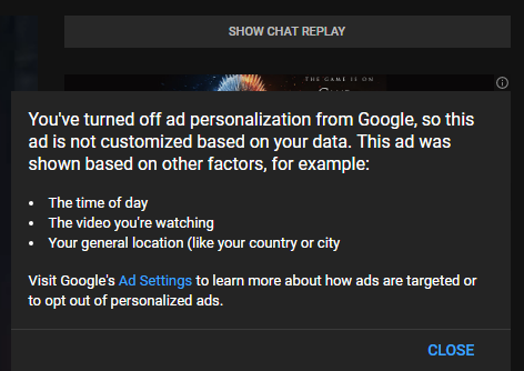Ads aren't personalized even when ad personalization is