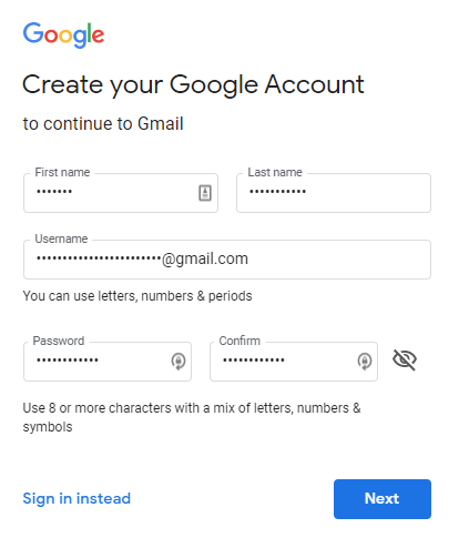 I Can T Create A New Google Account Google Account Community
