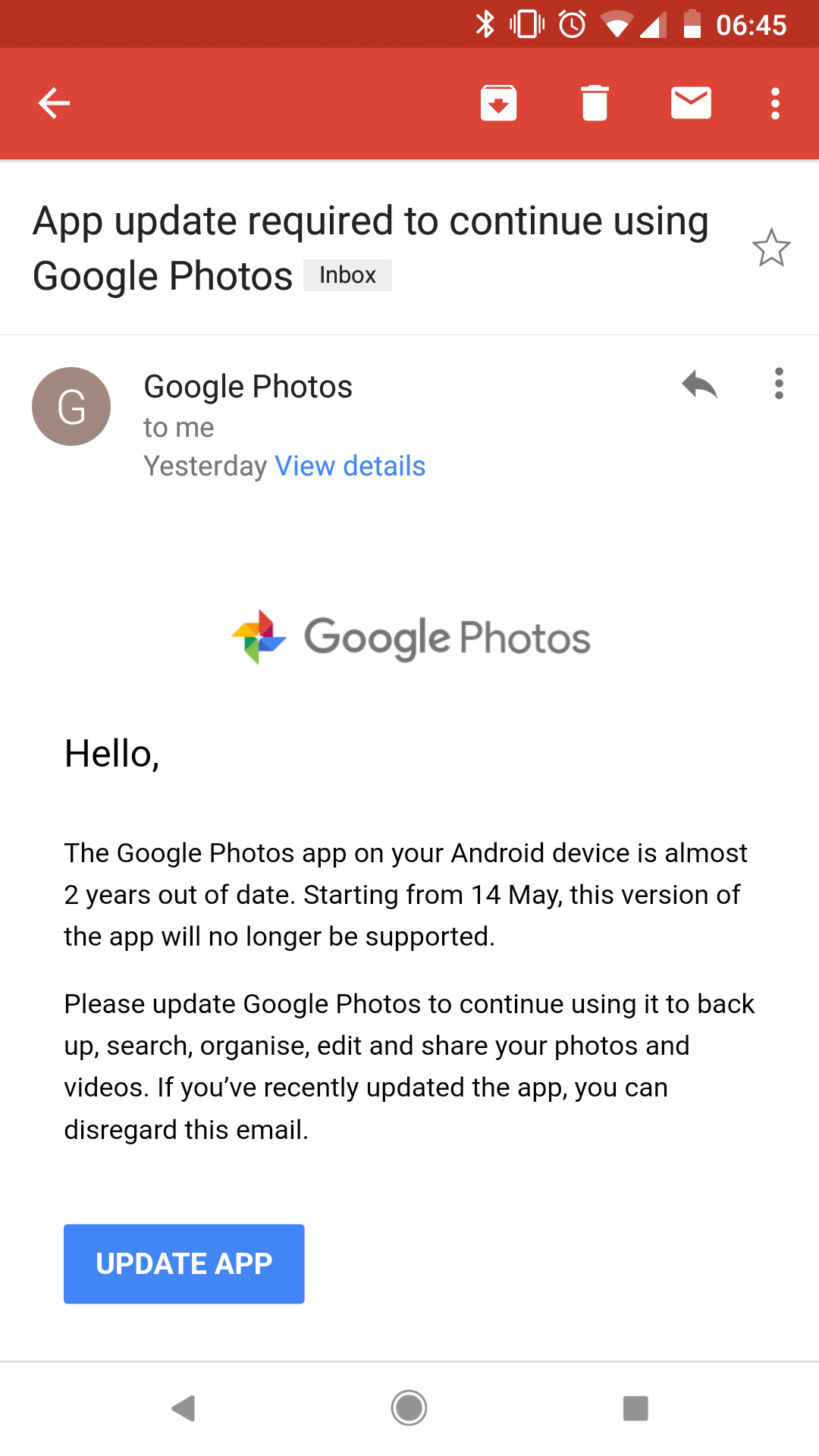 App update required to continue using Google Photos - Google