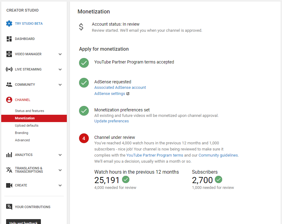 still under approved my channel http://www youtube com/c