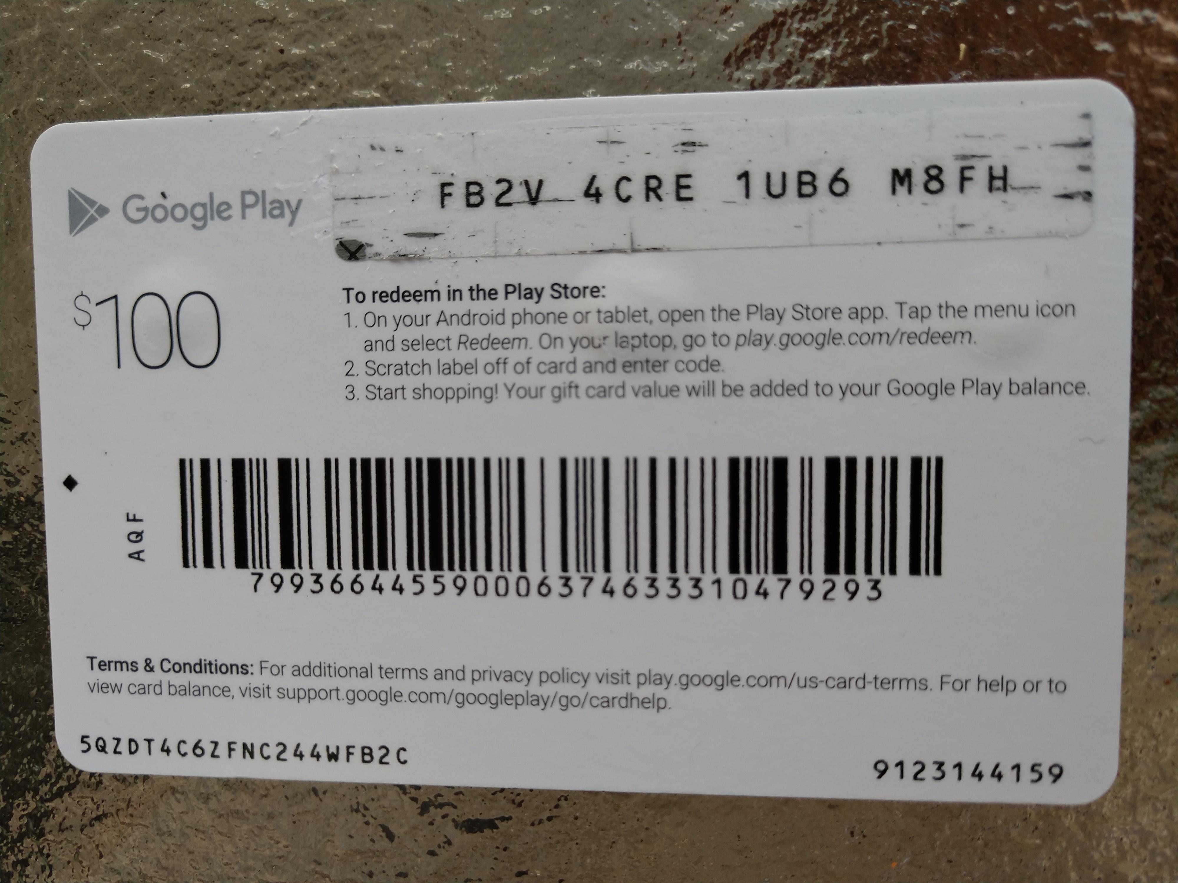 Hundred Dollar Google Play Card