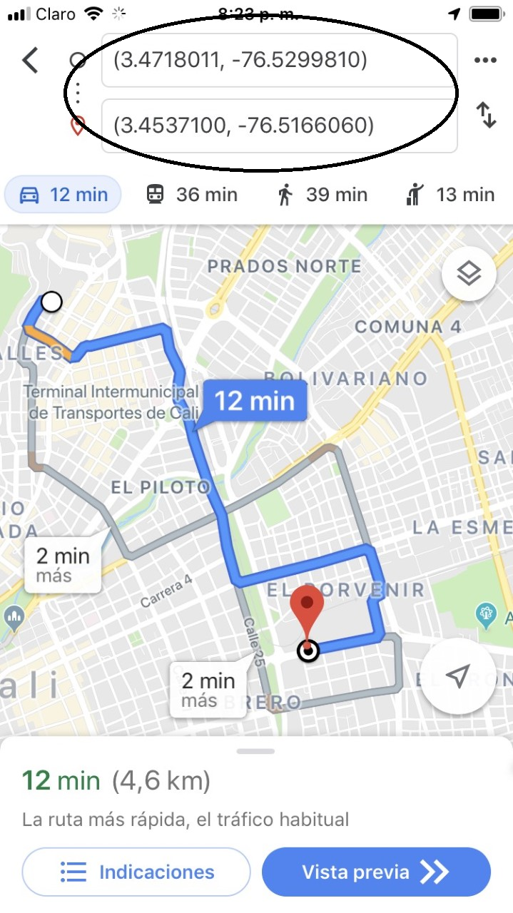 Google Maps URL: Why latitude and longitude do not transform to a